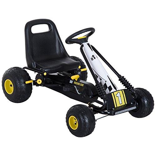 homcom Go-Kart a Pedali per Bambini con Freno e Frizione 95 × 66.5 × 57cm Bianco-Nero