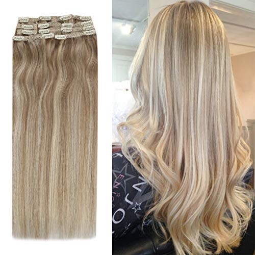 YoungSee Hair Extensions Clip in Blond Strähnchen Doppelt Tressen Haarextension Echthaar Clips Dunkel Aschblond mit Goldblond Voller Kopf Clip in Extensions Echthaar 7pcs 100g 35cm