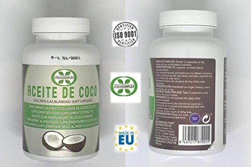 Capsulas de aceite de coco ayuda a reducir el hambre y la ansiedad por comer - aceite de coco para lucir tu piel, pelo y uñas fuertes y sano - 100 capsulas de aceite de coco LINEA COMPLEX