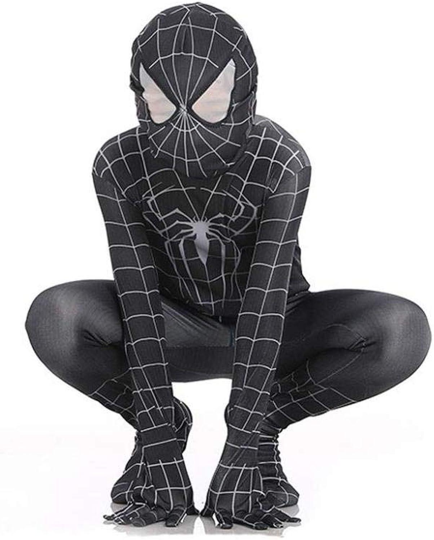 PIAOL Venom nero Spider uomo Costume Cosplay Bambini Elastico Tuta Htuttioween Perforuomoce Abgreeliamento da Spettacolo,nero-M