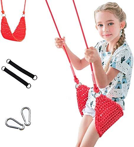 JTSYUXN Tejidas a Mano Asiento de Columpio Cuerdas for Interior y Exterior,Juguete for Niños Adultos (Color : Red)
