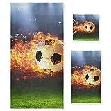 PIXIUXIU - Juego de 3 toallas de algodón altamente absorbentes, de secado rápido, para deportes de fútbol, de fuego, toallas de baño, toallas de mano para uso diario