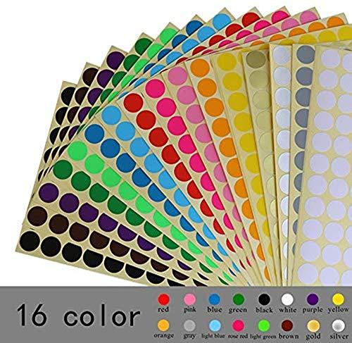 Tweal Pegatinas Redondas Colores,16 Hojas Etiquetas Adhesivas Redondas,16mm 16 Colores Pegatinas Color Círculo Etiquetas Autoadhesivo