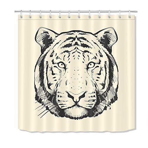 ZZZdz handbeschilderd. Tiger douchegordijn. 180 x 180 cm. 12 vrije haken. Waterdicht en gemakkelijk te reinigen. Badkameraccessoires.