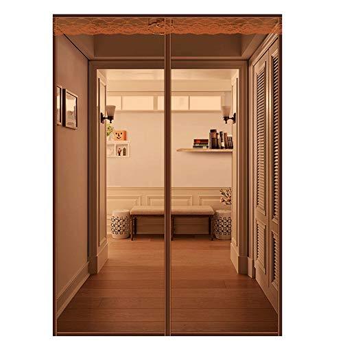 Magnetische hordeur van netstof, voor deuren, ramen met plakstrip en spijkers ter bevestiging, gordijn tegen insecten, voor ingangen, hofijngangen, magneetsluiting, zegel, zwart, bruin, 110 x 220 cm