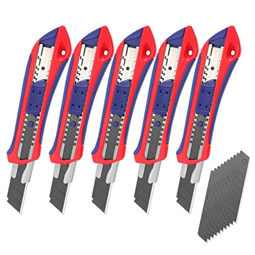 WORKPRO Retractable Box Cutters, 18mm Snap-off Utility Knife, 5-pack Knives with Extra 20 Sharp Blades for Heavy Duty Office, Home, Arts Crafts, Hobby