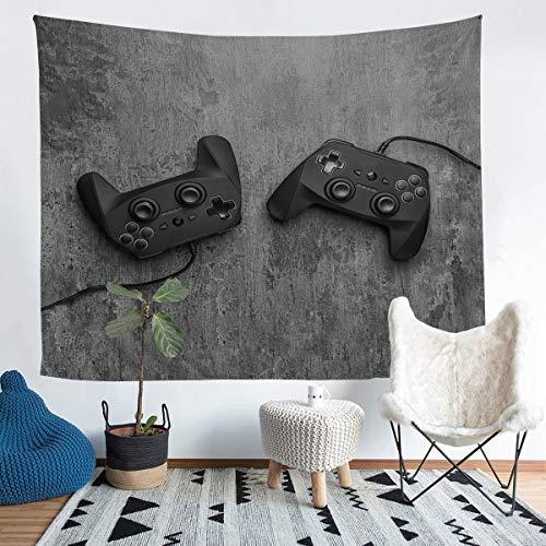 Gamepad - Tapiz para colgar en la pared, diseño moderno de botones de acción para decoración de pared para niños, niños, niñas, color negro, gris, manta para ropa de cama, 152 x 201