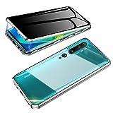 Jonwelsy Anti-Spy Funda para Xiaomi Mi Note 10 / CC9 Pro, 360 Grados Proteccion Case, Privacidad Vidrio Templado Anti espía Cover, Adsorción Magnética Metal Bumper Cubierta para MI CC9 Pro (Plata)