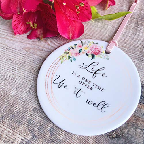 prz0vprz0 V Life is a One Time Offer, Floral Watercolor Quote Ceramic Decoration Keep Sake Sentiment Gift Positivity Ceramic Ornament Porcelain Ornament