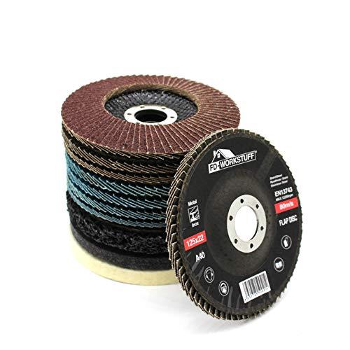 Juego de discos de abanico y pulido, 11 piezas, 125 mm , disco de abanico, 4 azules , 4 marrones , 40/60/80/120, 1 disco de limpieza gruesa, 2 discos de pulido