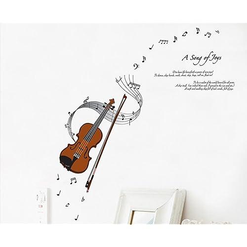 ufengke® Violín Serie de Música de Moda y las Notas Musicales Pegatinas de Pared,