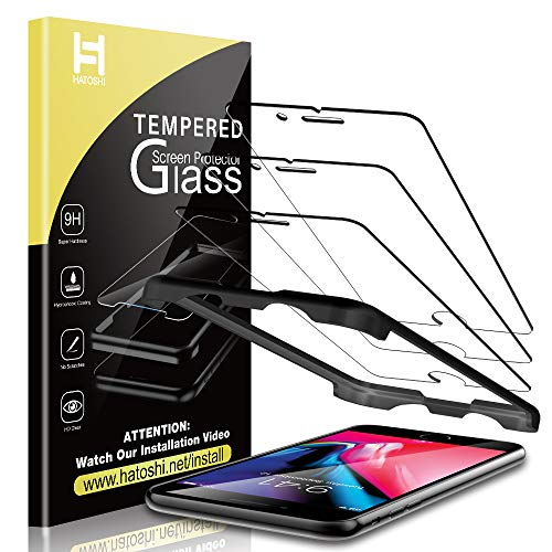 HATOSHI (3 Pack) Screen Protector for iPhone 8 Plus and iPhone 7 Plus Tempered Glass - Alignment Tray Easy Installation [Case Friendly] HD Clarity 9H Glass Screen Protector (5.5'')