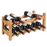 HOMFA Botellero de bambú para 12 botellas con 2 estantes de alta calidad 60x24x25cm