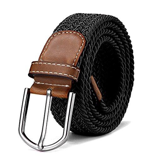 Stoffgürtel Stretchgürtel geflochten und elastisch Gürtel für Damen und Herren Länge 100 cm bis 130 cm schwarz