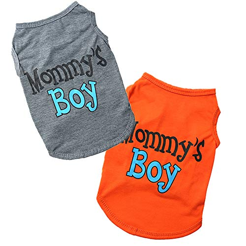 Sebaoyu My Mommy's Dog Shirts for Small Dogs Summer Dog Clothes Costume Soft Apparel Cat Vest Clothing Pet Outfits I Love Daddy Puppy Clothing for Boy Girls Doggie 2 Pack (Orange/Grey, X-Small)