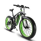 Extrbici Vélo électrique XF800 1000W 48V 13A VTT électrique à Vente Limitée Mondiale Support de Charge USB avec Suspension Complète et LCD Intelligent & Gros Pneu 26 x 4.0 (Vert Noir)