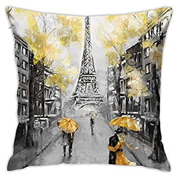 ETHAICO Oil Painting Paris Throw Pillow Covers Decorative 18x18 Inch Pillowcase Square Cushion Cases for Home Sofa Bedroom Livingroom