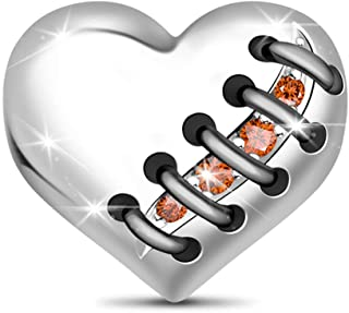 GNOCE Rose Gold Heart Charm Beads 925 Sterling Silver Bead Charms with Cubic Zirconia Fit for Bracelet/Necklace Valentine'...