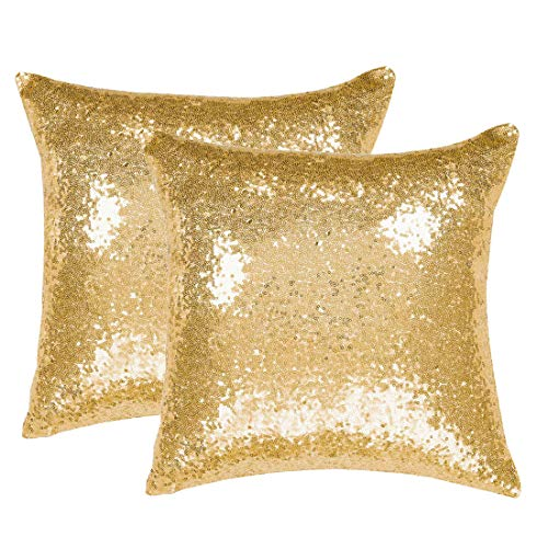 PiccoCasa Pack of 2 Sequin Throw Pillow Covers Glitzy Decorative Cushion Covers Shiny Sparkling Satin Solid Square Pillowcase Cover for Wedding Party, 45x45cm, Gold