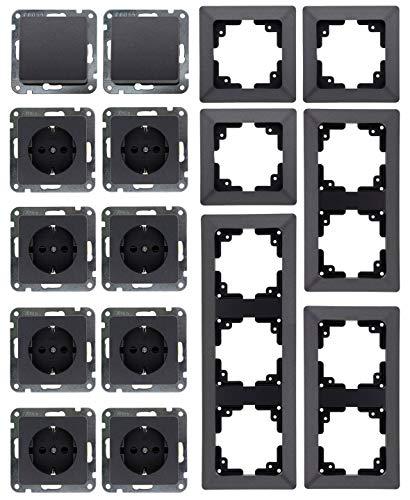 MILOS Steckdose Schalter 8x Steckdose 2x Schalter Klemmanschluss mit Mehfach-Rahmen Anthrazit