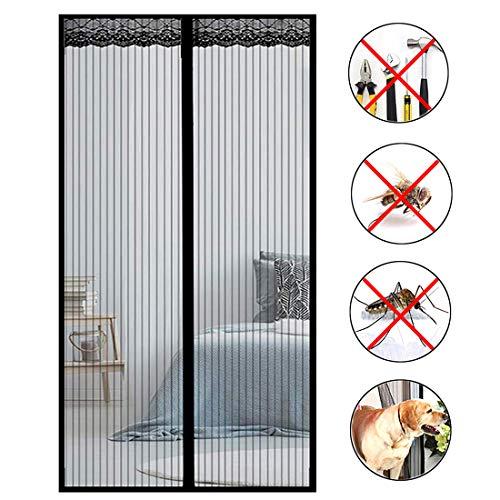 Aibingbao Mosquitera Puerta Magnetica 80x220cm(31x87inch) Tejido Súper Fino Puerta Mosquitera Magnética Cortina Protección para del Balcón Puerta Corredera de Patio, Negro