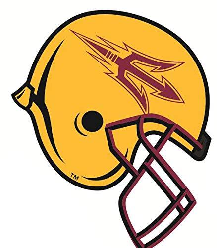 7 Inch ASU Logo Football Helmet Decal Trident Pitchfork Arizona State University Sun Devils AZ Removable Wall Sticker Art NCAA Home Room Decor 6 1/2 by 5 Inches