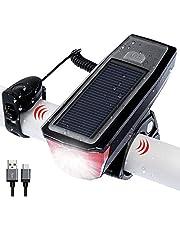 自転車ライト LED ヘッドライト 高輝度 ソーラー充電&USB充電式 IPX6 防水 自転車ライト 小型 軽量 LEDライト 自転車用ベル付き