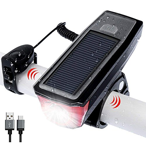 自転車ライト LED ヘッドライト 高輝度 ソーラー充電&USB充電式 IPX6 防水 自転車ライト 小型 軽量...