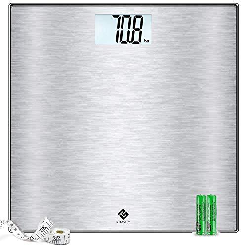 Etekcity Báscula de Baño Digital (180 kg/400 lb) de Acero Inoxidable, Cristal de Seguridad Endurecido, Pantalla LCD Transparente, Plateado