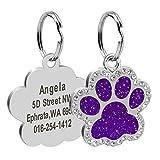 Collar con colgante de pata de mascota Accesorio de collar de identificación de perro y gato grabado personalizado con etiqueta de nombre de acero inoxidable anti-perdida perdida-21-Tamaño libr