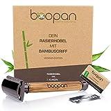 boopan® Premium RASIERHOBEL DAMEN mit Griff aus Bambus nachhaltig inkl. 5 Rasierklingen - ZERO WASTE Rasierer Set für eine sichere und sanfte Rasur - geschlossener Kamm inkl. eBook (Metalgun-Chrom) -