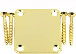 DISENS Metal 4 Holes Guitar Neck Plate with Screws, Guitar Neck Joint Board for Bass Guitar Replacement Parts (Gold)