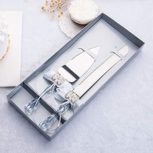 DÉCOCO Hochzeitstorte Messer und Server-Set, Set 2-teilig mit Geschenk Boxen, Tortenbesteck für Hochzeit Taufe, Edelstahl poliert