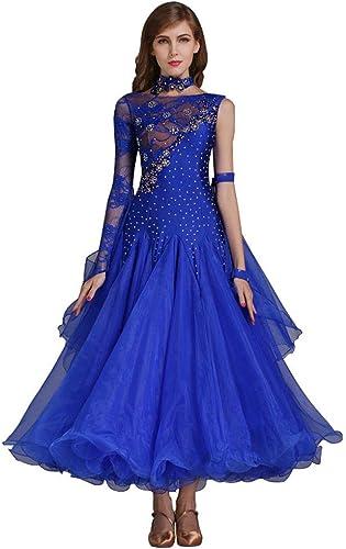 XXHDYR Robe de Danse Moderne avec Coutures en Dentelle et Une Grande Robe trapèze. (Couleur   Darkbleu, Taille   M)