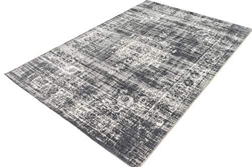 LIFA LIVING Vintage Vloerkleed, Donkergrijs Tapijt, Oosters Vloerkleed voor Woonkamer, Slaapkamer, 80 x 150 cm