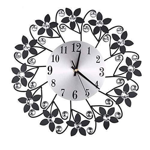 Mdsfe Ronda Rhinestone Flor Reloj de Pared Sala de Estar Hogar Restaurante Decoración Colgante Reloj de Pared Reloj de Hierro de Metal Relojes de Bricolaje - Negro