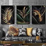 Hojas doradas Pintura en lienzo Decoración para el hogar Carteles de arte moderno e impresiones Imágenes de pared de fondo negro abstracto para la decoración de la sala de estar -50x70cmx3 No Frame