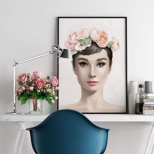 UIOLK Póster de Moda Hepburn Lienzo Pintura Corona de Flores Arte de Pared impresión Flor Cuadros de Personajes Modernos para decoración de Sala de Estar en la Pared