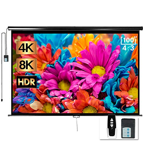 "100"" Motorized Projector Screen - Indoor and Outdoor Movies Screen 100 inch Electric 4:3 Projector Screen W/Remote Control"