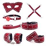 6pcs Kit de juguetes s-exy para adultos B0ndage Hándcúffs Juego de cama para hombres, mujeres, rojo