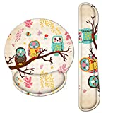 Keyboard Mouse Pad Wrist Rest, Gel Ergonomic Wrist Rest Support Mousepads Mat, Non Slip Rubber Base Wrist Support with Memory Foam for Laptop Computer Home Office Work, Durable Comfortable, Cute Owl