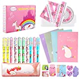27 Piezas Unicornio Set de Papelería Bolígrafos Cuaderno Libreta de Notas y Conjunto de geometría, Regalos de Unicornio...