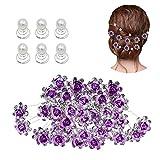 inSowni 40pcs Bridal Wedding Rhinestone Rose Flower U-shaped Hair Pins & 6pcs Twist Pearl Hairpins Headpiece Set in Gift Box for Women Girls Bridesmaid (Purple Set)