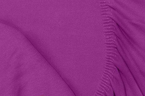 Double Jersey – Spannbettlaken 100% Baumwolle Jersey-Stretch bettlaken, Ultra Weich und Bügelfrei mit bis zu 30cm Stehghöhe, 160x200x30 Prune - 7