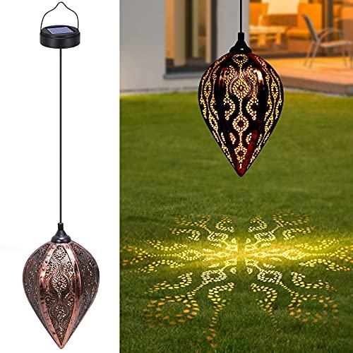 Farol Solar Exterior, Tencoz Lámpara Solar Exterior Jardin Decorativa Luz Solar Colgante IP44 Impermeable Luces Faroles Solares para Jardin Patio Fiesta Decoracion Navidad