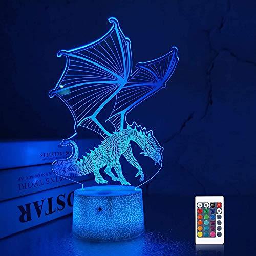 Coopark 3D Drachen Nachtlicht für Jungen, 16 Farben mit Fernbedienung, kinder Nachtlicht, 3D Illusion Spielzeug Lampe Nachtlicht, Geschenk für Jungen im Alter von 4 5 6 7 8 9 10
