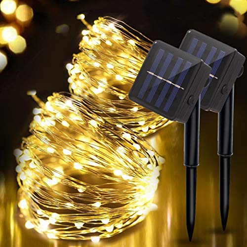 Solar String Lights Outdoor, 8 Modes 100 LED 10M/33Ft Garden Copper Wire Fairy Light, Dimmable Decorative Lights Water Resistant, for Home Decor Patio Garden Party Wedding Pathway Party, Warm White