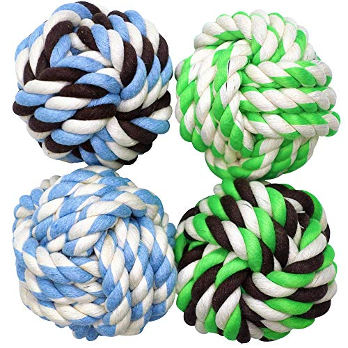 Otterly Pets Dog Toys for Medium Breed Dogs Rope Dog Ball Aggressive Chewers Cotton Balls Outdoor and Indoor Play (4-Pack)