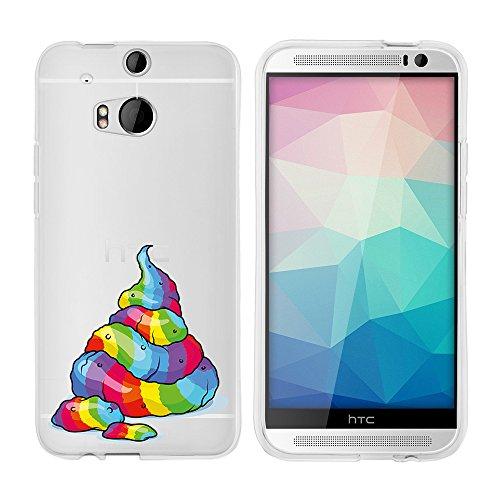 licaso Hülle für HTC One M8 / M8s Dual 5' TPU Schutz Cover HTC ONE Case Einhorn Kackihäufchen...
