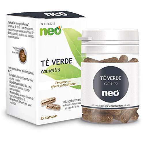 NEO | Extracto de Té Verde 200 mg | 45 Cápsulas Naturales| Quema grasa Natural | Estimulante y Relajante | Libre de Alérgenos y GMO | Tomar de 1 a 2 Cápsulas a Día | Liberación Rápida